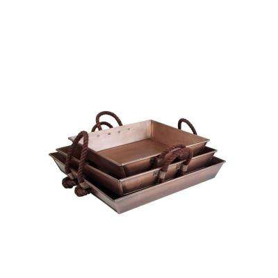 3-Piece Square Tray Set in Antique Copper with Rope Handle