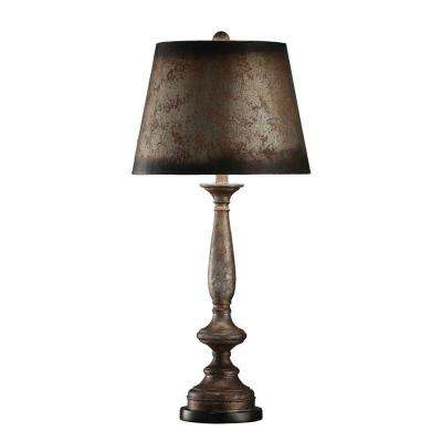 34.5 in. Silver Leaf Painted Table Lamp
