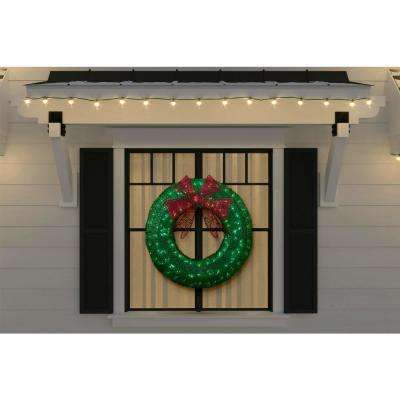 3 ft Green LED Twinkling Tinsel Wreath