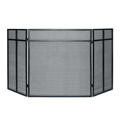 Classic Steel 3-Panel Fireplace Screen in Black