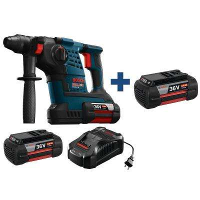 Bulldog 36 Volt Lithium-Ion Cordless 1-1/8 in. SDS-plus Variable Speed Rotary Hammer with Bonus 4.0 Ah Battery