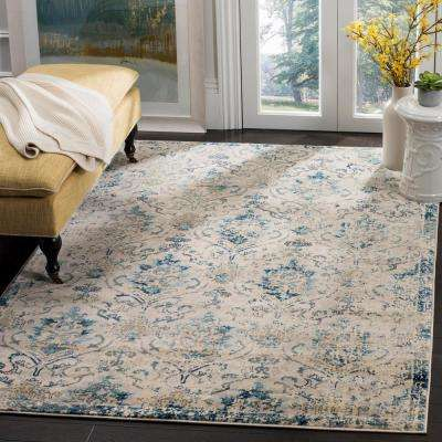 Evoke Beige/Navy 6 ft. 7 in. x 6 ft. 7 in. Square Area Rug