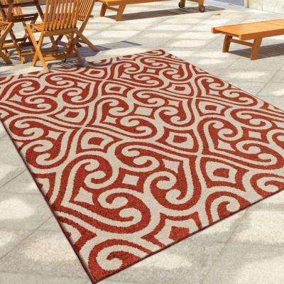 Eutaw Red Damask Scroll 8 ft. x 11 ft. Indoor/Outdoor Area Rug