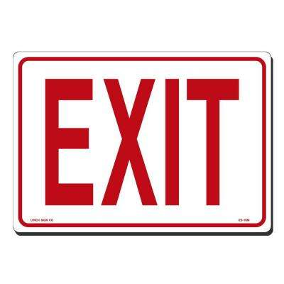 10 in. x 7 in. Red on White Plastic Exit Sign