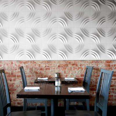 Ripple White Geometric Strippable Wallpaper