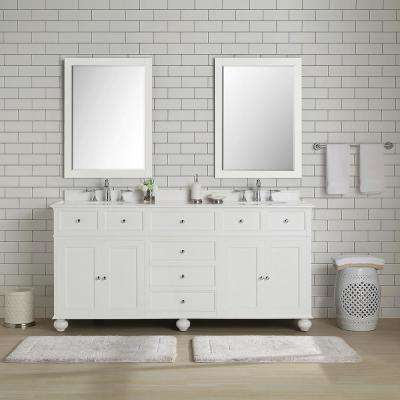 Hampton Harbor 72 in. W x 22 in. D Vanity in White with Marble Vanity Top in White with White Sink