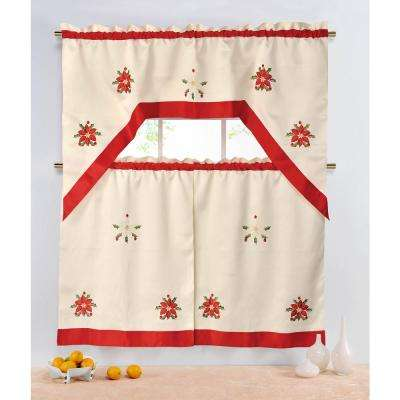Sheer Holiday Embroidered Sheer 72 in. L 3-Piece Kitchen Tier Set with Red Trim Border
