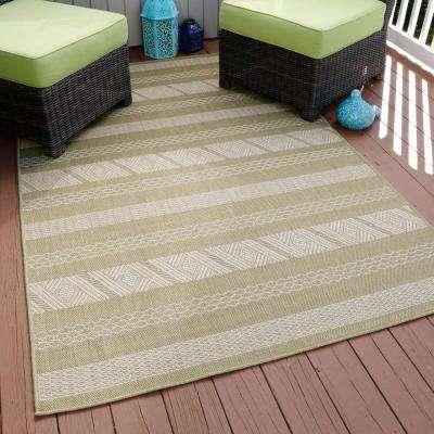 Aztec Stripe Green 5 ft. x 8 ft. Indoor/Outdoor Area Rug