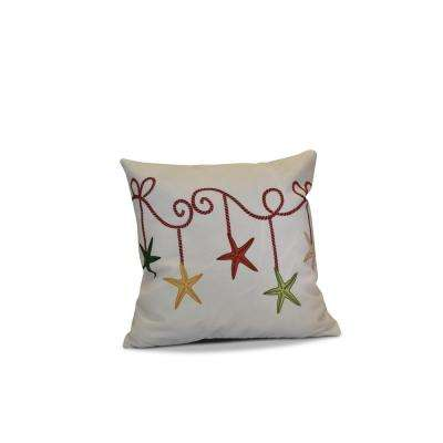 16 in. Starfish Ornament Holiday Cranberry Red Pillow