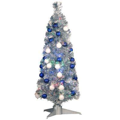 3 ft. Silver Fiber Optic Fireworks Ornament Artificial Christmas Tree