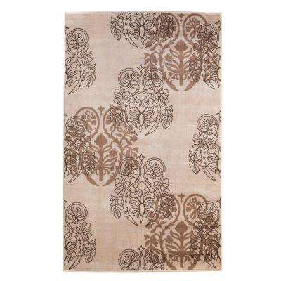 Milan Collection Ivory and Brown 5 ft. x 7 ft. 7 in. Indoor Area Rug