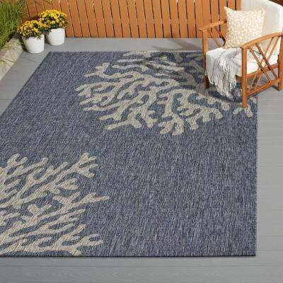 Captiva Navy/Gray 7 ft. 9 in. x 9 ft. 5 in. Rectangle Indoor/Outdoor Area Rug
