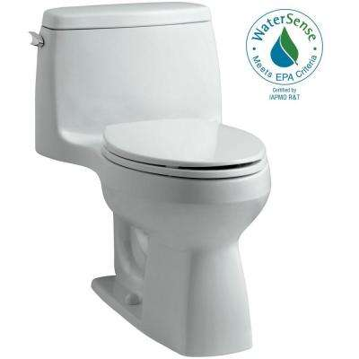 Santa Rosa Comfort Height 1-piece 1.28 GPF Single Flush Compact Elongated Toilet with AquaPiston Flush in Ice Grey