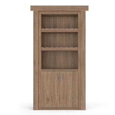 36 in. x 80 in. Flush Mount Assembled Walnut Unfinished Left-Hand Outswing Wine Rack Door