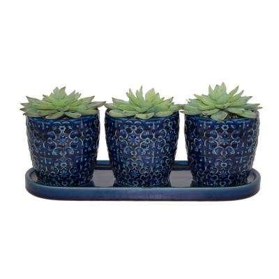 12 in. Blue Mediterreranean Bell Ceramic Trio Planter