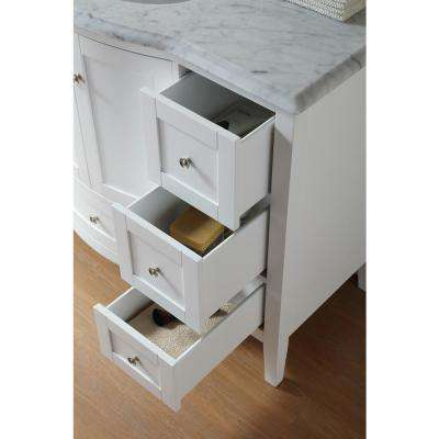 Marilyn 48 in. Bath Vanity in White Finish with Carrara Marble Vanity Top in White with White Basin