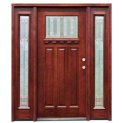 66in.x80in. Craftsman 1 Lt Stained Mahogany Wood Prehung Front Door w/Dentil Shelf 6 in. Wall Series & 12 in. Sidelites