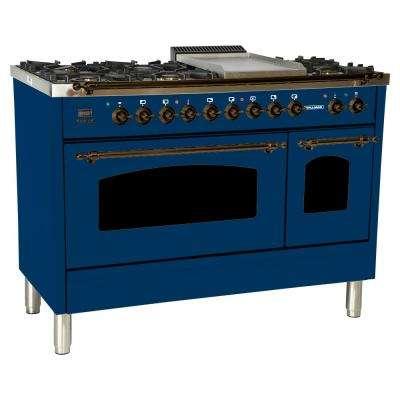 48 in. 5.0 cu. ft. Double Oven Dual Fuel Italian Range True Convection, 7 Burners, Griddle, LP Gas, Bronze Trim in Blue