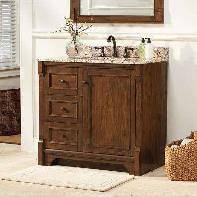 Creedmoor 37 in. W x 22 in. D Vanity in Walnut with Granite Vanity Top in Beige with White Sink