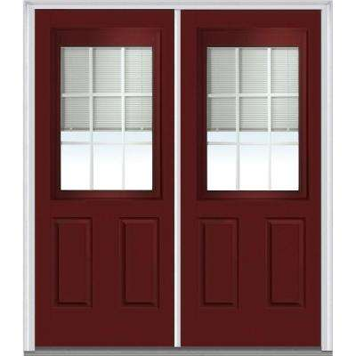 72 in. x 80 in. Internal Blinds and Grilles Right-Hand 1/2 Lite 2-Panel Classic Painted Steel Prehung Front Door
