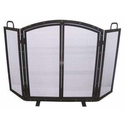 Wazee Oil Rubbed Bronze 3-Panel Fireplace Screen with Doors