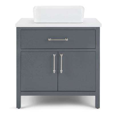 Patton 30 in. Bath Vanity in Charcoal Grey with Engineered Marble Extra Thick Vanity Top in White with White Basin