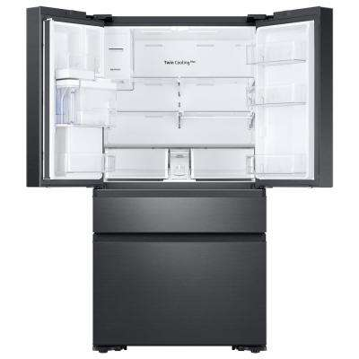 22.2 cu. ft. Family Hub 4-Door French Door Refrigerator in Black Stainless Steel Recessed Handle Counter Depth