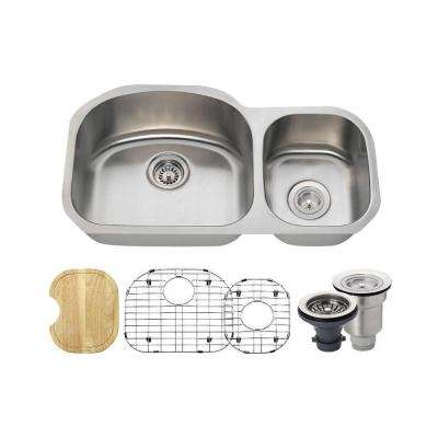 All-in-One Undermount Stainless Steel 32-1/8 in. Left Double Bowl Kitchen Sink