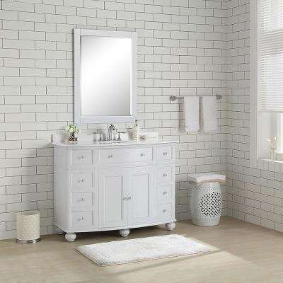 Hampton Harbor 45 in. Vanity in Dove Grey with Marble Vanity Top in White with Sink in White