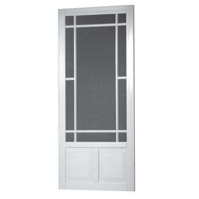 Prairie View Solid Vinyl White Screen Door