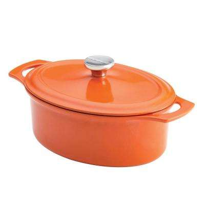 Cast Iron 3.5 qt. Covered Oval Casserole in Orange