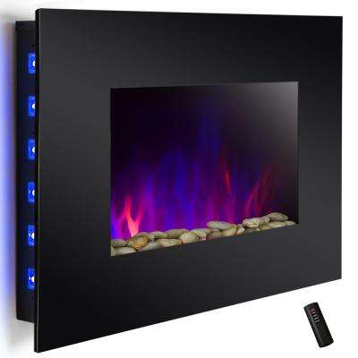 36 in. Wall Mount Electric Fireplace Heater in Black with Tempered Glass, Pebbles, Logs and Remote Control