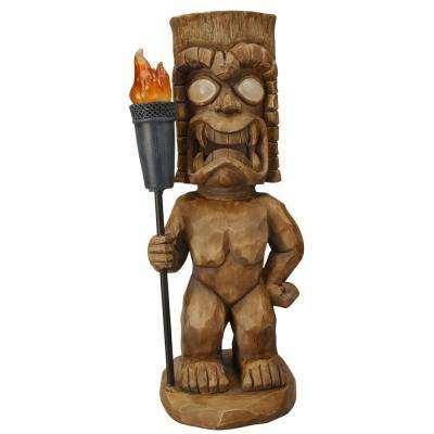 Solar Powered LED Brown Tiki Warrior Light