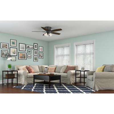 Large room ceiling fans lighting the home depot led indoor low profile new bronze ceiling fan with light kit aloadofball Images