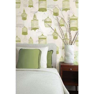 Avian Green Bird Cages Wallpaper
