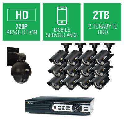 16-Channel 720p 2TB Full HD Surveillance System with (12) 720p Bullet Cameras and (1) 720p Pan/Tilt Camera