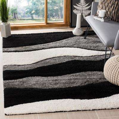 Florida Shag Gray/Black 4 ft. x 6 ft. Area Rug