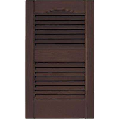 15 in. x 25 in. Louvered Vinyl Exterior Shutters Pair in #009 Federal Brown