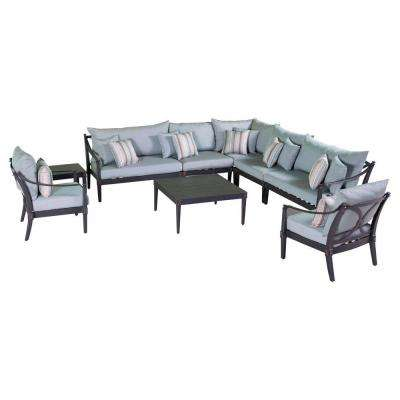 Astoria 9-Piece Patio Seating Set with Bliss Blue Cushions