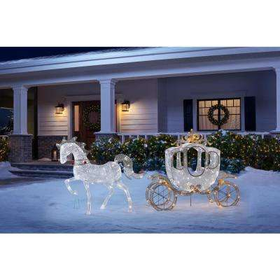 58 in 180-Light LED Carriage with 43 in LED Horse