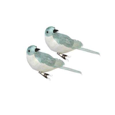 3 in. W Snowy Bird Clip on Christmas Ornaments (Set of 2)
