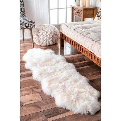 Due Sheepskin Natural 2 ft. x 6 ft. Runner Rug