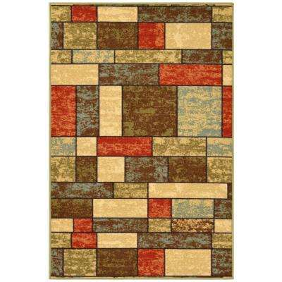 Ottohome Collection Contemporary Boxes Design Multi 3 ft. 3 in. x 5 ft. Area Rug