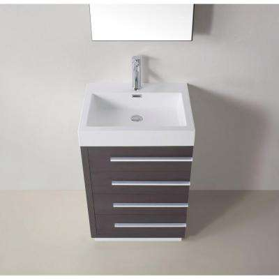 Bailey 24 in. W Bath Vanity in Wenge with Polymarble Vanity Top in White with Square Basin and Mirror and Faucet