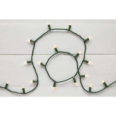 29.5 ft. 100-Light LED Mini Warm White String Light with Green Wire