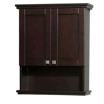 Acclaim 25 in. W x 30 in. H x 9-1/8 in. D Bathroom Storage Wall Cabinet in Espresso