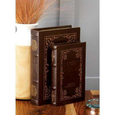 Vintage Rectangular Wood and Faux Leather Classic Book Boxes (Set of 4)