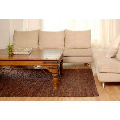 Brown Leather 3 ft. x 14 ft. Runner Rug
