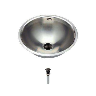 Tri-Mount Bathroom Sink in Stainless Steel with Pop-Up Drain in Antique Bronze