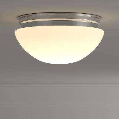 9 in. 60-Watt Equivalent Brushed Nickel Integrated LED Mushroom Flush Mount with White Acrylic Shade